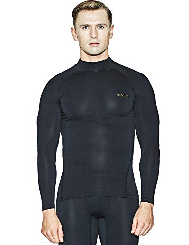 EXIO Japan Men's Mock Turtleneck Compression Shirt Cool&Dry Baselayer Top EX-T02 (Medium, EXT02-BK)