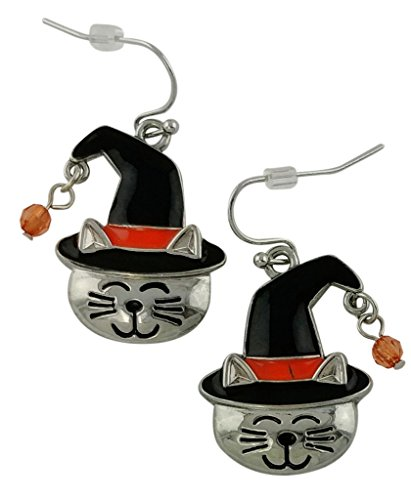 Cat Face in the Halloween Hat Earrings | Seasonal Girls Drop Dangle Silver Plated Studs (Cat In The Hat Costume Easy)