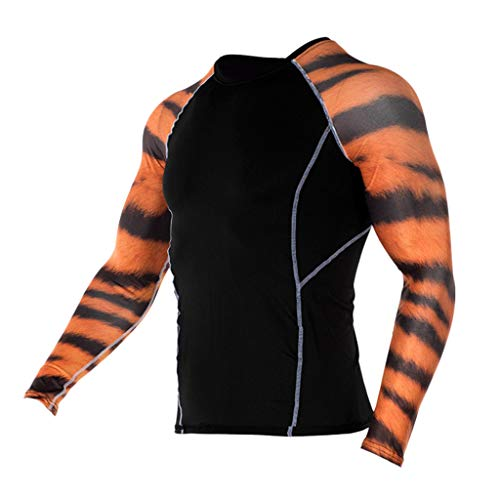 T-Shirt Long Sleeve Cool Dry Skin Fit Compression Shirt Fashion Yoga Fitness Soft T-Shirt Quick-Drying Sports Printing Top Blouse Men (M,5- Brown)]()