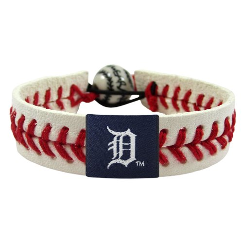 GameWear MLB Detroit Tigers Classic Leather Baseball Bracelet ()