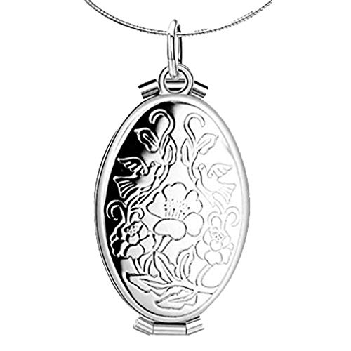 (CliPons Living Memory Photo Flower and Peace Dove Birds Locket Necklace Custom Picture for Girls Women)