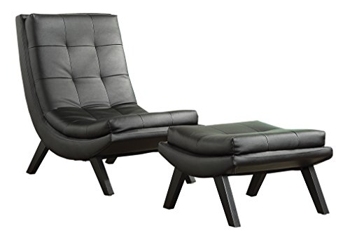 Cheap AVE SIX Tustin Faux Leather Lounge Chair and Ottoman Set with Solid Wood Legs, Black