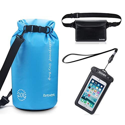 ZetHot Waterproof Dry Bags Set of 3 - Roll Top Dry Compression Sack with 2 Adjustable Detachable Shoulder Strap, IPX8 Waterproof Waist Pouch & Phone Case - Can Be Submerged Into Water Swimming, Kayak
