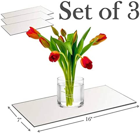 7 x16 Rectangle Mirror Plate with Round Edge Set of 3 Glass Mirror Tray, Base for Wedding Centerpieces, Candles and Wall Decor