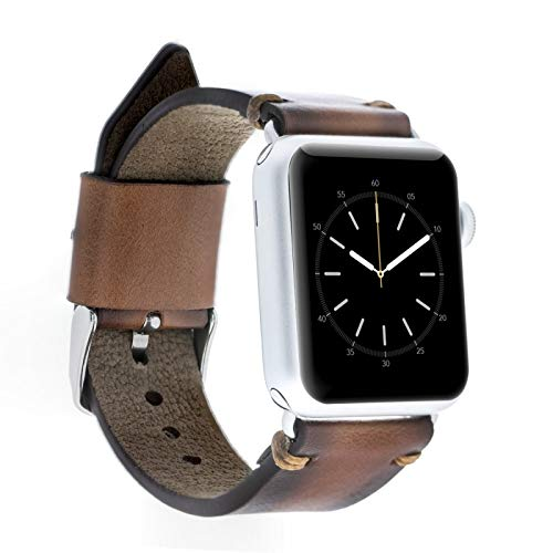Bouletta Genuine Leather Apple Watch Band 38 mm - Iwatch Band Series 4/3/2 - for Apple Watch Band Strap - Iwatch Bands for Women Men (Coffee Gold Pin)