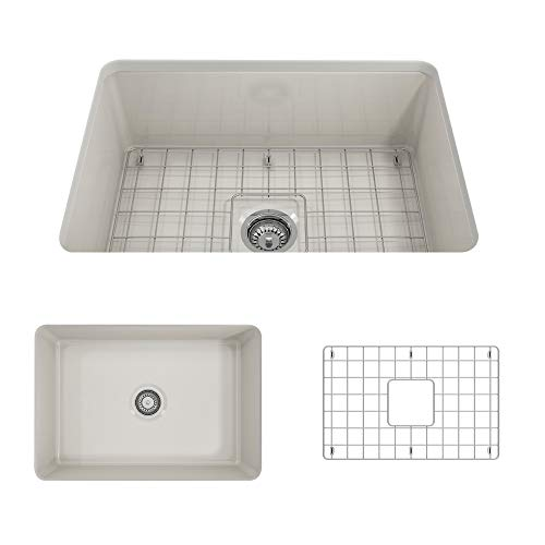 - BOCCHI 1362-014-0120 Sotto Undermount Fireclay 32 in. Single Bowl Kitchen Sink with Protective Bottom Grid and Strainer in Biscuit,