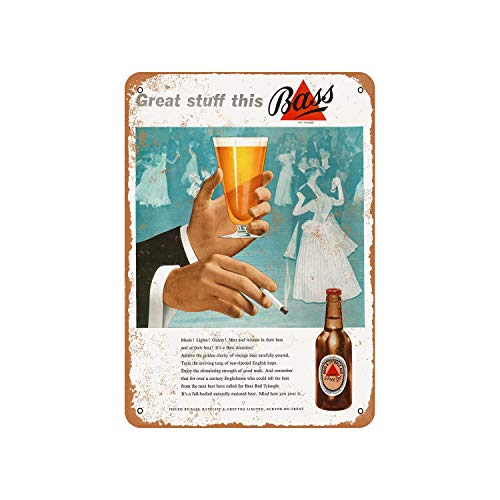 Fhdang Decor Vintage Pattern 1953 Bass Pale Ale Vintage Look Aluminum Sign Metal Sign,12x18 Inches