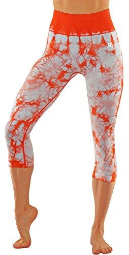 Vesi Star Women's Ombre Flexible Exercise Capri Pants(Orang n White X-Large)