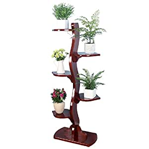 Solid Wood Flower Frame Balcony Assembly Multi - Storey Real Flower Rack Living Room Bonsai Frame Multi - Purpose Shelves LWH: 6027133cm