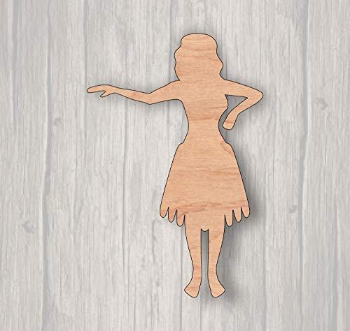 MarthaFox Hula Girl Unfinished Wood Cutout Wood Cutout Laser Cutout Wood Sign Sign Blank Ready to Paint Door Hanger -