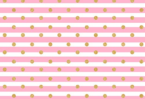 - Sensfun Pink White Stripe Background Silk Gold Spots Dot Photography Backdrops Newborn Photo Studio Photo Props 7x5ft