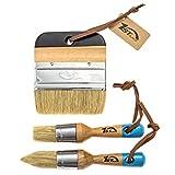#1: 1st Place Ultra Chalk Paint & Wax Natural Bristle Brush Set - 2 Piece Brush Set & 4