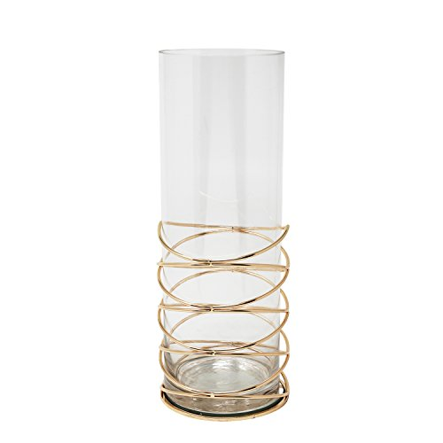 Benzara Classic Metal and Glass Hurricane Candleholder, 5'' x 5'' x 13.75'', Gold by Benzara
