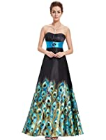 Ever Pretty Floral Printed Strapless Rhinestones Satin Ruffles Prom Dress 09620