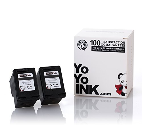 YoYoInk Remanufactured Ink Cartridge Replacement for HP 61 XL 61XL (2 Black) with Ink Level - Level Economy