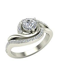 Ocean Wave Two-tone Promise Diamond Ring 14K Gold 0.75 Ctw (G,I1)