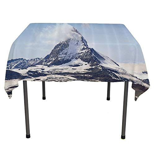 - Farmhouse Decor, Wipeable Table CoverMatterhorn Summit with Cloud Mountain Scenery Glacier Natural Beauty, Dinning Tabletop Decoration, 70x70 Inch Blue White Black