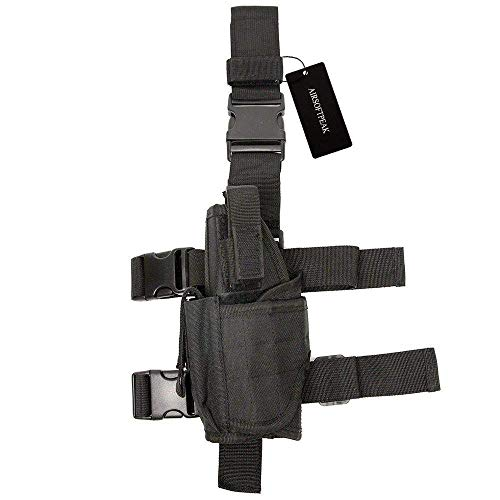 AIRSOFTPEAK Tactical Leg Holster Universal Pistol Drop Leg Gun Holster Adjustable Hunting Thigh Holster Left Handed Mag Pouch, Black (Airsoft Drop Leg Pistol Holster)