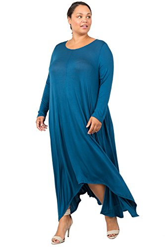 Sleeve Teal Plus Round Dress Long Love Neck Women's In Flared Size W Pocket Maxi Eg1OX