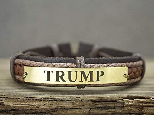 (Personalized Name Bracelet Gold, Mens Brown Leather Cuff, Name Plate Jewelry, Trump Engraved, Gift for Him)