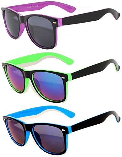 3 Pairs Vintage Two -Tone Smoke and Mirror Lens Sunglasses Purple, Green, - Sunglasses 3 Men For