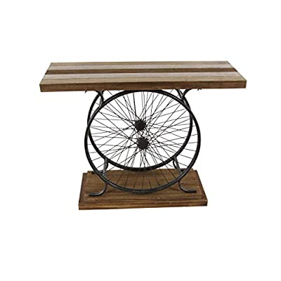 Deco 79 Metal and Wood Wheel Console, Brown/Black - -Dimensions: 38x14x28 -Dimensions 2: base 28x13 -Dimensions 3: clearance 27 - living-room-furniture, living-room, console-tables - 41LPqe yDaL. SS400  -