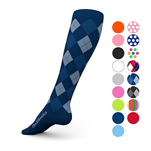 Go2 Compression Socks (1 Pair) for Women and Men Athletic Running Socks for Nurses Medical Graduated Nursing Compression Socks for Travel Running Sports Socks(BlueArg,S)