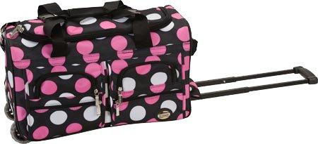 "Rockland 22"" Polka Dot Rolling Duffle Bag by Fox Luggage"