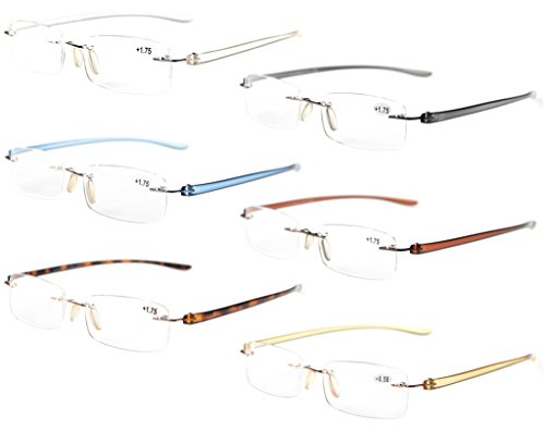 Eyekepper 6-Pack Mix Color Small Lenes Rimless Reading Glasses 2.5