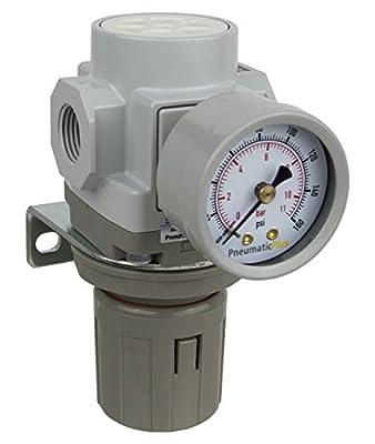 "PneumaticPlus SAR300-N03BG Compressed Air Pressure Regulator 3/8"" NPT - Bracket, Gauge"