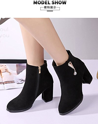 Satin Heeled eight Thirty Autumn Boots Rough Winter With Short KPHY Martin Tip The High Boots And Tip Versatile With New Side Rough q18WwRxxT