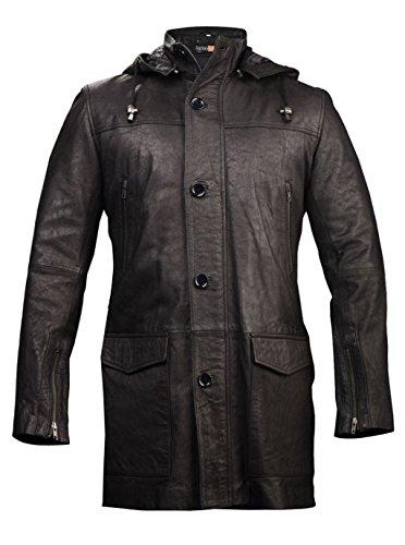 FE Zea Black Long Hoodie Leather Trench Coat Stylish Distressed Blazer w Hooded Mens Detachable Zipper Hood