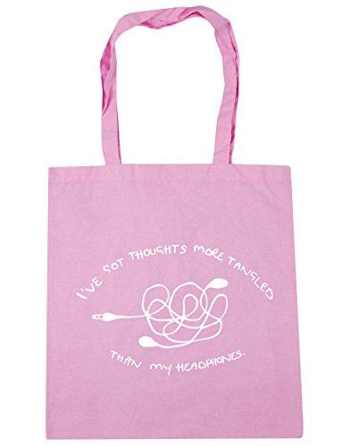 "HippoWarehouse - Bolsa de mano, para compras, gimnasio y playa, diseño con texto en inglés ""I've got thoughts more tangled than my headphones"", 42 x38 cm, 10 litros Classic Pink"