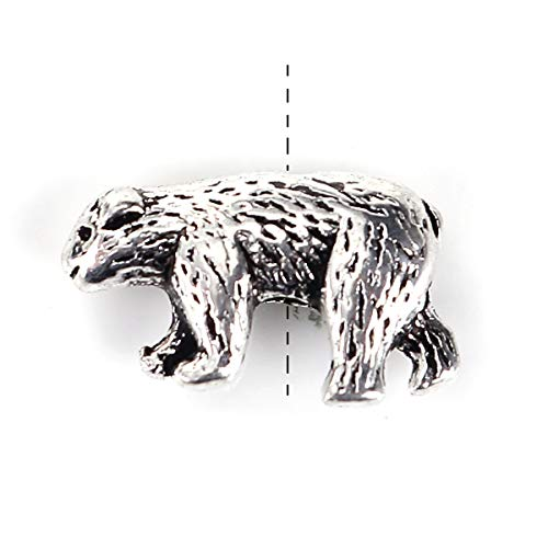 """PEPPERLONELY 50pc Antiqued Silver Alloy Bear Animal Charms Pendants 15 x10mm(5/8"""" x 3/8"""")"""