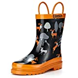 TideWe Rain Boots for Kids and Toddlers, Children Natural Rubber Rain Boots with Easy-On Handles, Waterproof Lightweight Kids Rain Boots in Fun Patterns for Boy and Girls (Cool Deer Size 3)