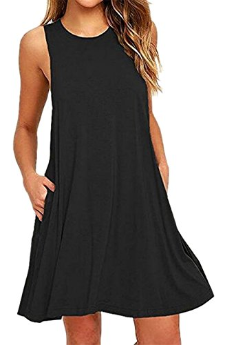 Swing Black Sleeveless Pocket Shirt Dress Solid Women Fitted Slim Summer Jaycargogo xvw64Uq0w