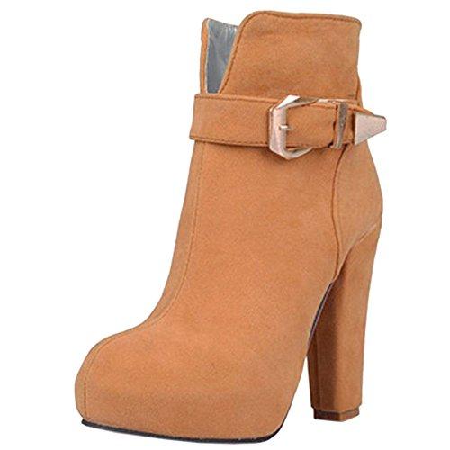 TAOFFEN Women's Short Boots Zipper Yellow-1562 wMN6XNO8OC