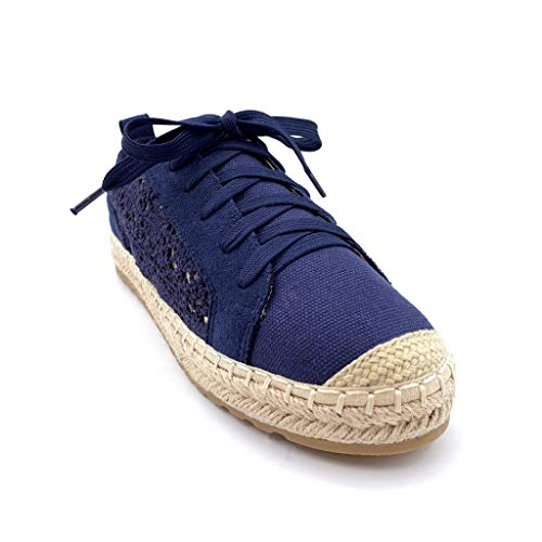 Comfortable Merletto Paglia 3 Scarpe Romantico Tennis Scuro Con Angkorly Blu Cm Moda Perforato Tacco Espadrillas Scarpa Donna Derby Piatto wqWW0Zfp