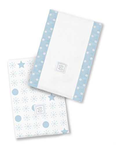 SwaddleDesigns Baby Burpies, Set of 2 Cotton Burp Cloths, Pastel Blue Jax and Stars by SwaddleDesigns
