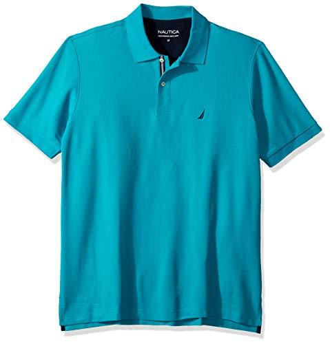 Nautica Men's Classic Fit Short Sleeve Solid Performance Deck Polo Shirt, tropic wave, 1X Big