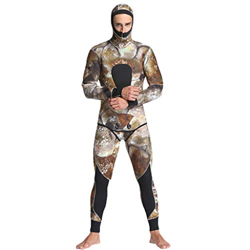 Iusun Men 's Two Piece Wetsuit 5MM Long Sleeve Bodysuit Full Body Splice Swimwear Super Stretch UV Protection Perfect for Swimming/Scuba Diving/Snorkeling/Surfing