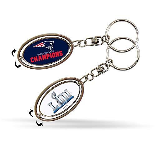 (NFL New England Patriots Super Bowl LIII Champions Metal Spinner Keychain)