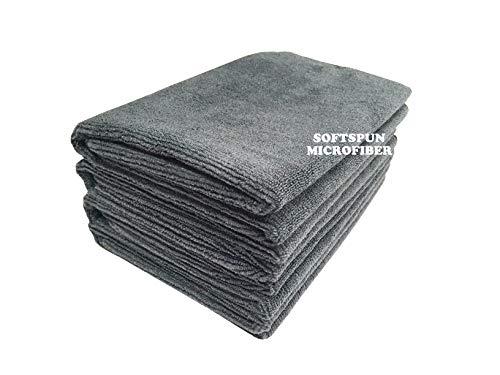 SOFTSPUN Microfiber Cloth 40×60 Cms, 4 Piece Towel Set, 340 GSM (Grey) Multi-Purpose Super Soft Absorbent Cleaning…