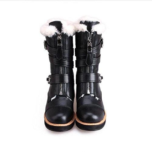Alla moda con zip donna cintura fibbia lana genuino cuoio Martin moto stivali agnelli e velluto Snow Boot , 36