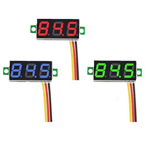KeeYees 3pcs 0.36 Inch Three Wires DC 0V-100V Mini Digital Voltmeter Panel LED Display
