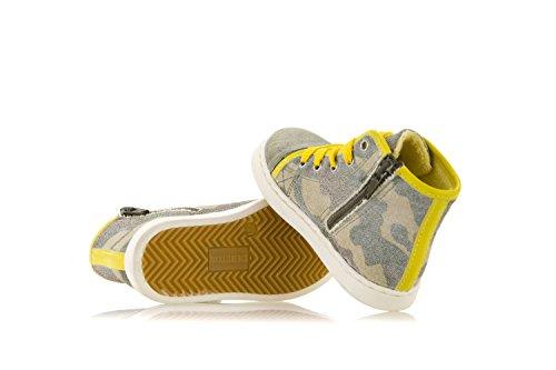 BIKKEMBERGS Schuhe SNEAKERS AUS CAMOUFLAGE STOFF WEB D32 Grau
