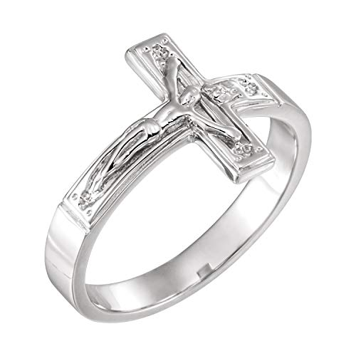 Sterling Silver Crucifix Chastity Ring Size 8