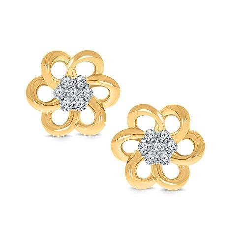 La Joya 0.07ct Round White Natural Diamond 14K Yellow Gold 925 Sterling Silver Flower Earring Ear Lobe Helix Earring Christmas Xmas ()