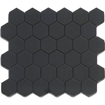 Black 12x12 Hexagon Mosaic 11pcs Carton 11 Sq Ft Ceramic