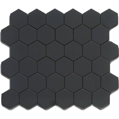 - Black 12X12 Hexagon Mosaic- 11pcs/carton (11 sq ft)